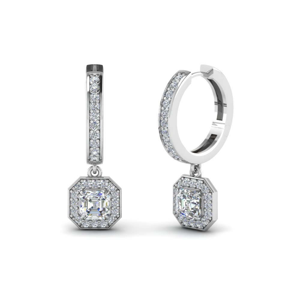 Asscher Halo Diamond Hoop Earring